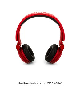 Minsk, Belarus - 1 Sep, 2017: JBL headphones isolated on white background. illustrative editorial.