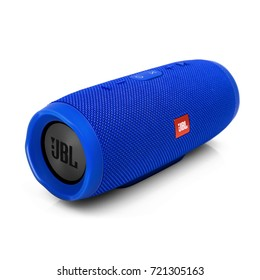 Minsk, Belarus - 1 Sep, 2017: JBL bluetooth speaker isolated on white background. illustrative editorial.