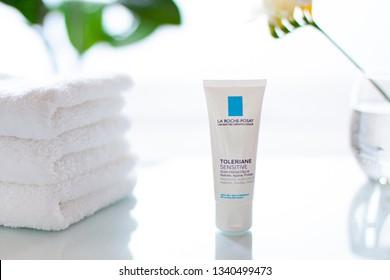 Minsk, Belarus. - 12 March 2019. La Roche Posay Toleriane sensitive  face cream with prebiotics cosmetic tube close up