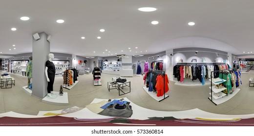 Minsk, BELARUS. 12 May 2016: Full 360 degree equirectangula panorama Interior of clothing store