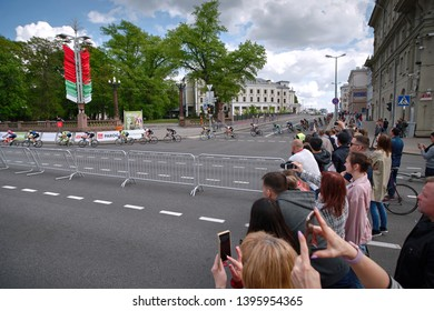 Minsk, Belarus - 12 May 2019. Grand Prix Minsk cycling race international competition. Open group race for 150 km through the streets of city. Free to attend event for residents and guests of Minsk ci