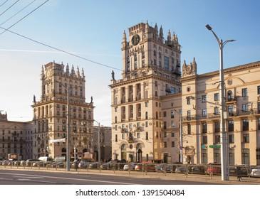 MINSK. BELARUS. 16 APRIL 2019 : Gate of Minsk at Railway station square in Minsk. Belarus