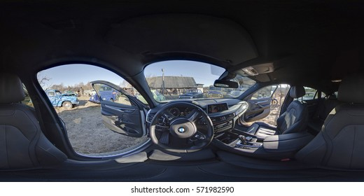 Minsk, Belarus - 16 september 2016, Interior BMW X6 -  full 360 degrees panorama in equirectangular spherical projection in waterpark, VR content