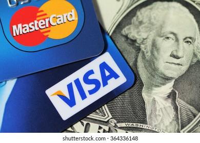 Minsk, BELARUS - 18.01.2016: Visa and Mastercard on dollar