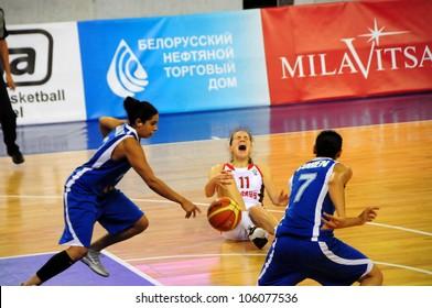 MINSK, BELARUS �JUNE 20: Alla Muravskaya (Belarus) gets an injury during European Championship qualifying match (Belarus Israel) on June 20, 2012 in Minsk, Belarus.