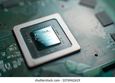 Minsk, Belarus, 2018. Nvidia geforce graphic chip close up