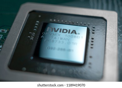 Minsk, Belarus, 2018. Nvidia Geforce graphic chip close up.  Computer technology concept