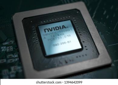 Minsk, Belarus, 2018. Nvidia Geforce graphic chip close up.  Computer technology concept