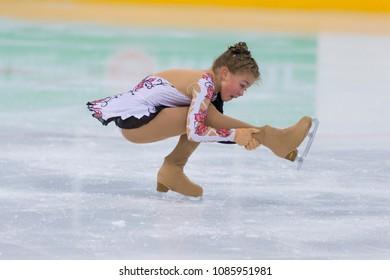 Minsk, Belarus –April 22, 2018: Female Figure Skater from Belarus Angelina Bhurlina Performs Cubs A Girls Free Skating Program at Minsk Arena Cup 2018 in April 22, 2018, in Minsk, Belarus
