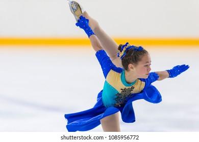 Minsk, Belarus –April 22, 2018: Female Figure Skater Performs Girls Free Skating Program at Minsk Arena Cup 2018 in April 22, 2018, in Minsk, Belarus