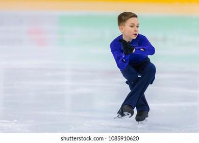 Minsk, Belarus –April 22, 2018: Male Figure Skater from Belarus Andrej Kosar Performs Cubs A Boys Free Skating Program at Minsk Arena Cup 2018 in April 22, 2018, in Minsk, Belarus
