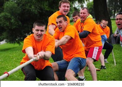 MINSK, BELARUS - Â?Â?JUNE 23: Unidentified sportsmen compete in tug of war during NATIONAL OLYMPIC DAY on June 23, 2012 in Minsk, Belarus.