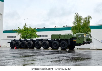 Minsk, Belarus, 27.07.2019:  Special wheeled chassis MZKT-79221 16x16 transporter-erector-launcher for the Topol-M missile designed and developed by the Minsk Wheel Tractor Plant (VOLAT trademark)