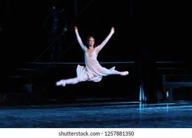 "Minsk, Belarus - 5 Dec 2018.  Ballet ""Romeo and Juliet "" Sergey Prokofiev. Juliet - Irina Eromkina. Juliet jumps from happiness. Bolshoi Opera and Ballet Theatre. Choreographer Valentin Elizariev."