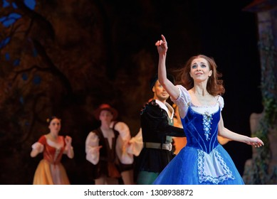 Minsk, Belarus - 5 Jan 2019. Classical ballet performance - Giselle, ou les Wilis by Adolphe Adam. Giselle - Liudmila Khitrova deceived and offended by betrayal. Bolshoi Opera and Ballet Theatre