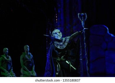 Minsk, Belarus - 5 Jan 2019. Ballet THE FIREBIRD - Ballet based on Russian folk tales, Bolshoi Opera and Ballet Theater. Angry and spooky Kashchey the Immortal. Evil character of Russian fairy tales
