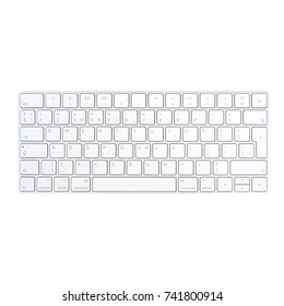 Minsk, Belarus - 5 Oct, 2017: Magic Keyboard made by Apple Inc. isolated on white background. illustrative editorial.