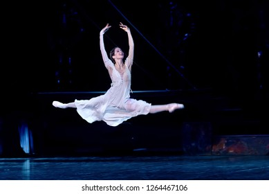 "Minsk, Belarus - 6 Dec 2018.  Ballet ""Romeo and Juliet"" Sergey Prokofiev. Juliet - Liudmila Khitrova. Juliet jumps from happiness. Bolshoi Opera and Ballet Theatre. Choreographer Valentin Elizariev"