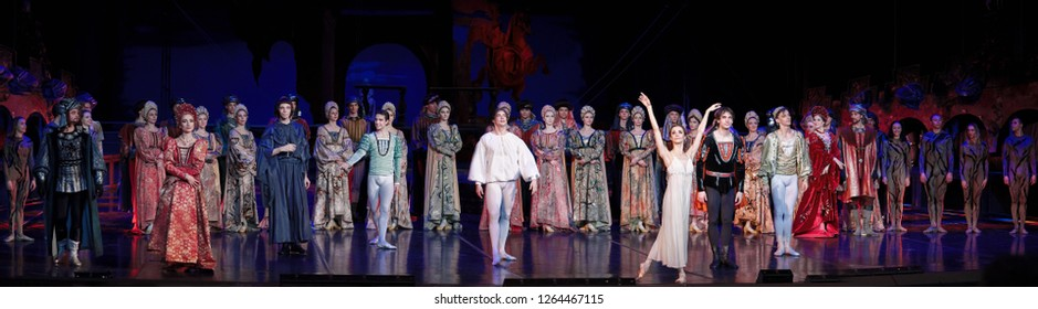 "Minsk, Belarus - 6 Dec 2018. Ballet ""Romeo and Juliet"". Juliet - Liudmila Khitrova. Dancers breaks the standing ovation. Bolshoi Opera and Ballet Theatre"