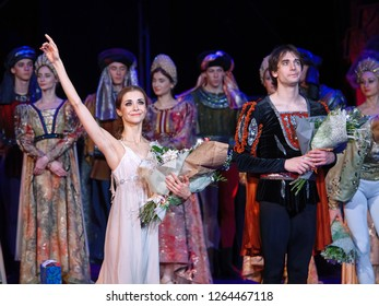 "Minsk, Belarus - 6 Dec 2018. Ballet ""Romeo and Juliet"". Juliet - Liudmila Khitrova breaks the standing ovation. Bolshoi Opera and Ballet Theatre"