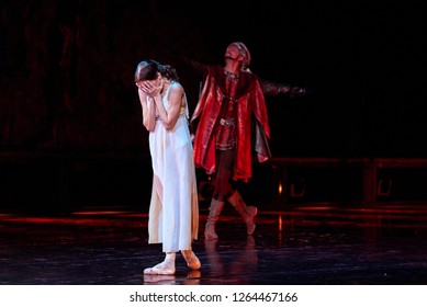 "Minsk, Belarus - 6 Dec 2018.  Ballet ""Romeo and Juliet"" Sergey Prokofiev. Juliet crying - Liudmila Khitrova. Bolshoi Opera and Ballet Theatre. New version premiere, choreographer Valentin Elizariev"