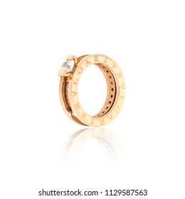 Minsk, Belarus - 8 Jul, 2018: Bvlgari diamond Ring isolated on white background. illustrative editorial.