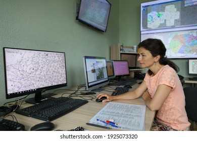 MINSK, BELARUS - 9 AUGUST, 2020: weather station workers observe the weather