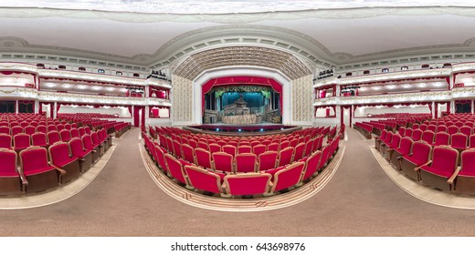 MINSK, BELARUS - 9 MAY 2017: Interior of Minsk Opera and Ballet Theater. Full 360 degrees panorama in equirectangular equidistant spherical projection. skybox for VR content