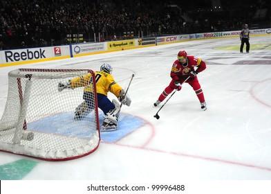 MINSK, BELARUS  APRIL 10: EuroChallenge 2012, Belarus VS Sweden: Dmitrij Meleshko(BLR(red) against Eric Ersberg on April 10, 2012 in Minsk, Belarus