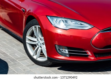 MINSK, BELARUS - April 13, 2019.Tesla car , Inc. is an American company that specializes in electric automotives, energy storage and solar panel manufacturing