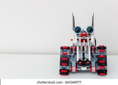 Minsk, Belarus - April 14, 2017: The Dragon-dog robot. Lego robot. Stem education. E-learning. Mindstorms. Ev 3. New Year Dog 2018.