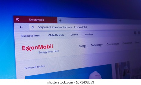 Minsk, Belarus - April 17, 2018: The homepage of the official Exxon Mobil website, an American multinational oil and gas corporation