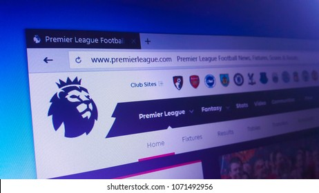 Minsk, Belarus - April 17, 2018: The homepage of the official website for Premier League, the top level of the English football league system
