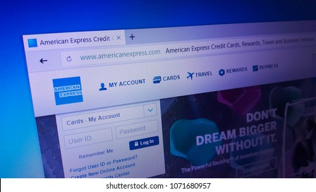 Minsk, Belarus - April 17, 2018: The homepage of the official website for American Express Company, also known as Amex, an American multinational financial services corporation