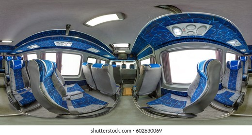 MINSK, BELARUS - APRIL 18, 2012: Full 360 panorama in equirectangular spherical equidistant projection in stylish saloon of microbus Sprinter Mercedes Benz. Photorealistic VR content