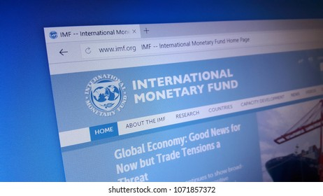 Minsk, Belarus - April 18, 2018: The homepage of the official website for  International Monetary Fund (IMF), an international organization