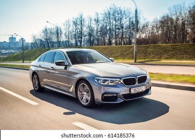 MINSK, BELARUS - APRIL 2, 2017: 2017 BMW 520d (G30) on the road. BMW 5 Series has been entirely newly developed allowing for a significant weight loss with the use of aluminum and high-strength steel.