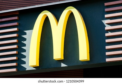 MINSK, BELARUS - April 20, 2018: McDonald's logo. McDonald's is the world's largest chain of hamburger fast food restaurants