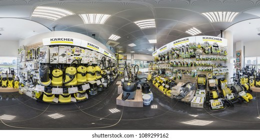 MINSK, BELARUS - APRIL, 2017: full seamless panorama 360 angle degrees view in interior of luxury vacuum cleaner store Karcher and garden accessories in equirectangular projection, skybox VR content