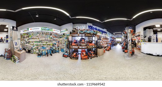 MINSK, BELARUS - APRIL, 2017: full seamless spherical panorama 360 angle degrees view in interior luxury vacuum cleaner store Karcher and garden accessories in equirectangular projection, VR content