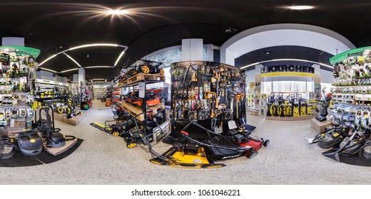 MINSK, BELARUS - APRIL, 2017: panorama 360 angle view in interior elite luxury store of electric garden tool shop karcher. full 360 degree seamless panorama in equirectangular spherical projection.
