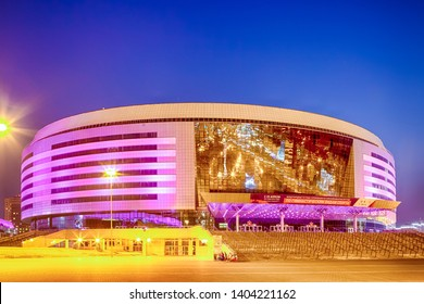 Minsk- Belarus, April 23, 2019: Minsk Arena Complex as the Main Sport Venue with Saturated Violet Illumination for the Second European Games in April 23, 2019 in Minsk, Belarus
