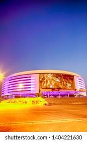 Minsk- Belarus, April 23, 2019: Minsk Arena Complex as the Main Sport Venue with Violet Night Illumination for the Second European Games in April 23, 2019 in Minsk, Belarus