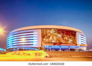 Minsk- Belarus, April 23, 2019: Minsk Arena Complex as the Main Sport Venue with Light Bluish Night Illumination for Second European Games in April 23, 2019 in Minsk, Belarus