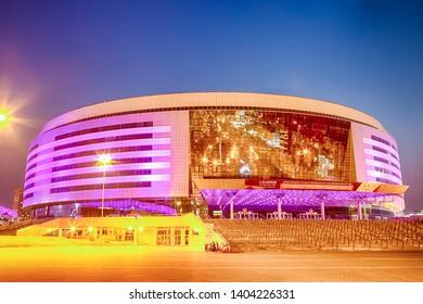 Minsk- Belarus, April 23, 2019: Minsk Arena Complex as the Main Sport Venue with Violet Night Illumination for Second European Games in April 23, 2019 in Minsk, Republic of Belarus