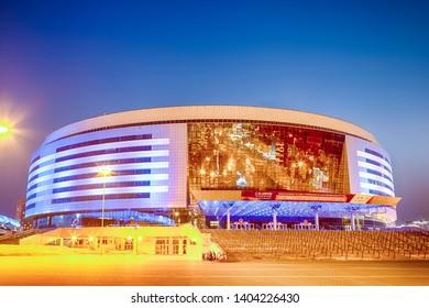 Minsk- Belarus, April 23, 2019: Minsk Arena Complex as the Main Sport Venue with Light Blue Illumination for Second European Games in April 23, 2019 in Minsk, Belarus