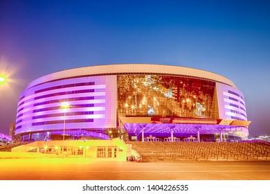 Minsk- Belarus, April 23, 2019: Minsk Arena Complex as the Main Sport Venue with Violet Night Illumination for Second European Games in April 23, 2019 in Minsk, Belarus