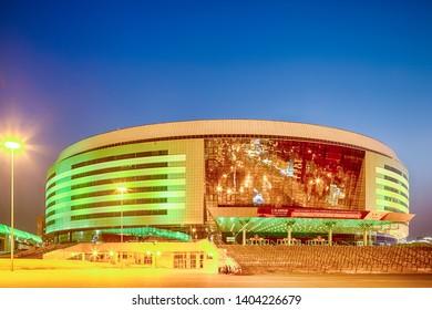 Minsk- Belarus, April 23, 2019: Minsk Arena Complex as the Main Sport Venue with Green Illumination for Second European Games in April 23, 2019, Minsk, Belarus