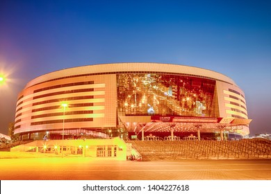 Minsk- Belarus, April 23, 2019: Minsk Arena Complex as the Main Sport Venue with Yellow Illumination for Second European Games in April 23, 2019 in Minsk, Belarus