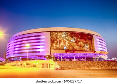 Minsk- Belarus, April 23, 2019: Minsk Arena Complex as the Main Sport Venue with Purple Illumination for Second European Games in April 23, 2019 in Minsk, Belarus